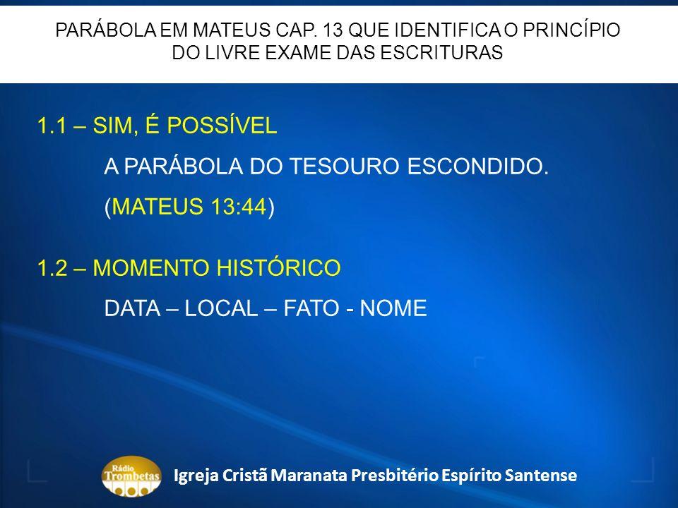 CATEDRAL DE WITTENBERG Igreja Cristã Maranata Presbitério Espírito Santense