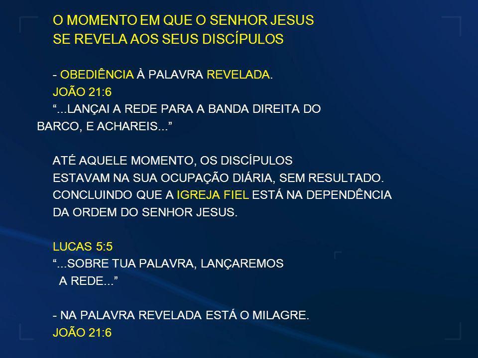 O MOMENTO EM QUE O SENHOR JESUS SE REVELA AOS SEUS DISCÍPULOS - OBEDIÊNCIA À PALAVRA REVELADA. JOÃO 21:6...LANÇAI A REDE PARA A BANDA DIREITA DO BARCO