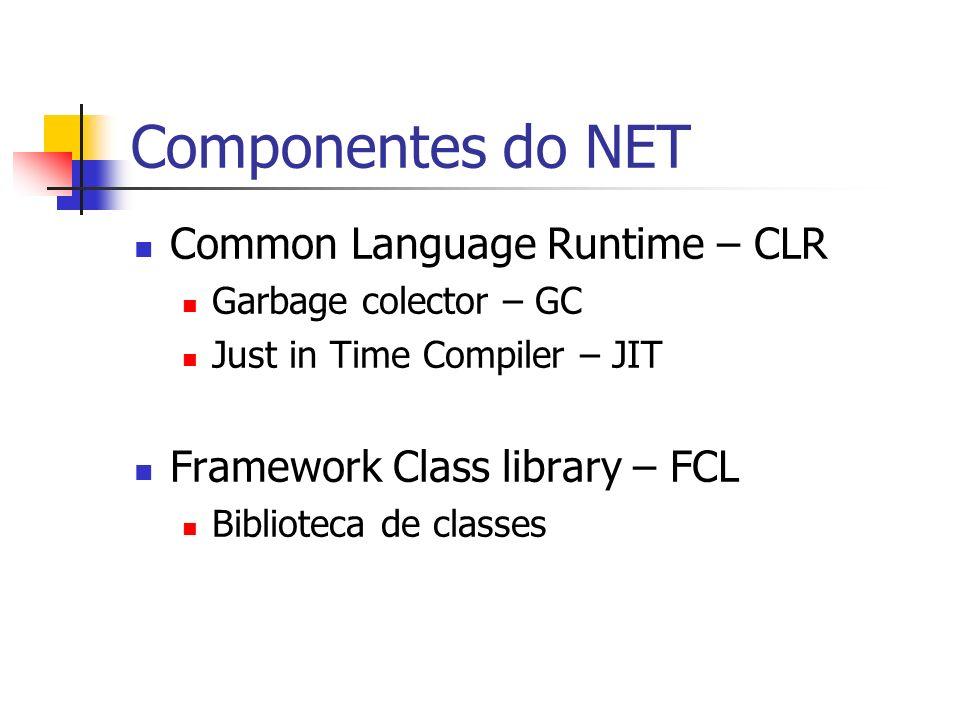 Agnóstico com linguagens VB.NET C# JavaScript.NET J# Delphi.NET Mais de 20 outras linguagens (Phyton, Pascal, Cobol, Fortran, Eifhel)