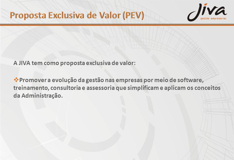 A JIVA tem como proposta exclusiva de valor: Promover a evolução da gestão nas empresas por meio de software, treinamento, consultoria e assessoria qu