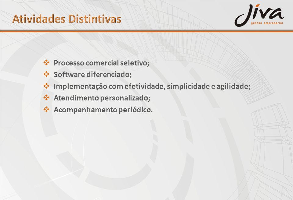 Processo comercial seletivo; Software diferenciado; Implementação com efetividade, simplicidade e agilidade; Atendimento personalizado; Acompanhamento