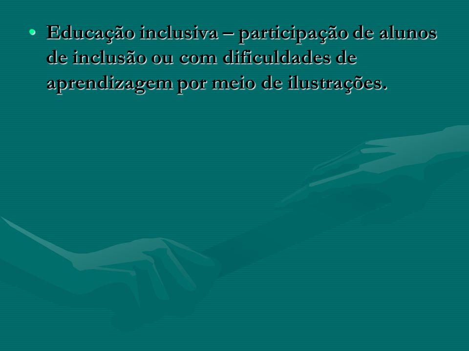 Educação inclusiva – participação de alunos de inclusão ou com dificuldades de aprendizagem por meio de ilustrações.Educação inclusiva – participação