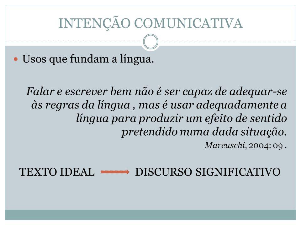 INTENÇÃO COMUNICATIVA Usos que fundam a língua. Falar e escrever bem não é ser capaz de adequar-se às regras da língua, mas é usar adequadamente a lín