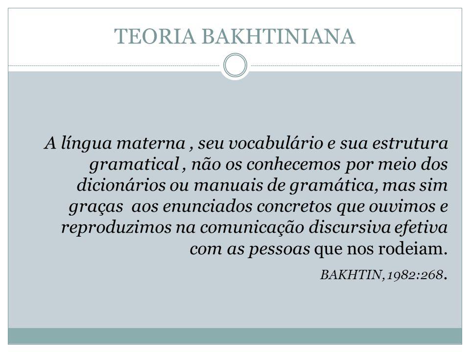 TEORIA BAKHTINIANA A língua materna, seu vocabulário e sua estrutura gramatical, não os conhecemos por meio dos dicionários ou manuais de gramática, m