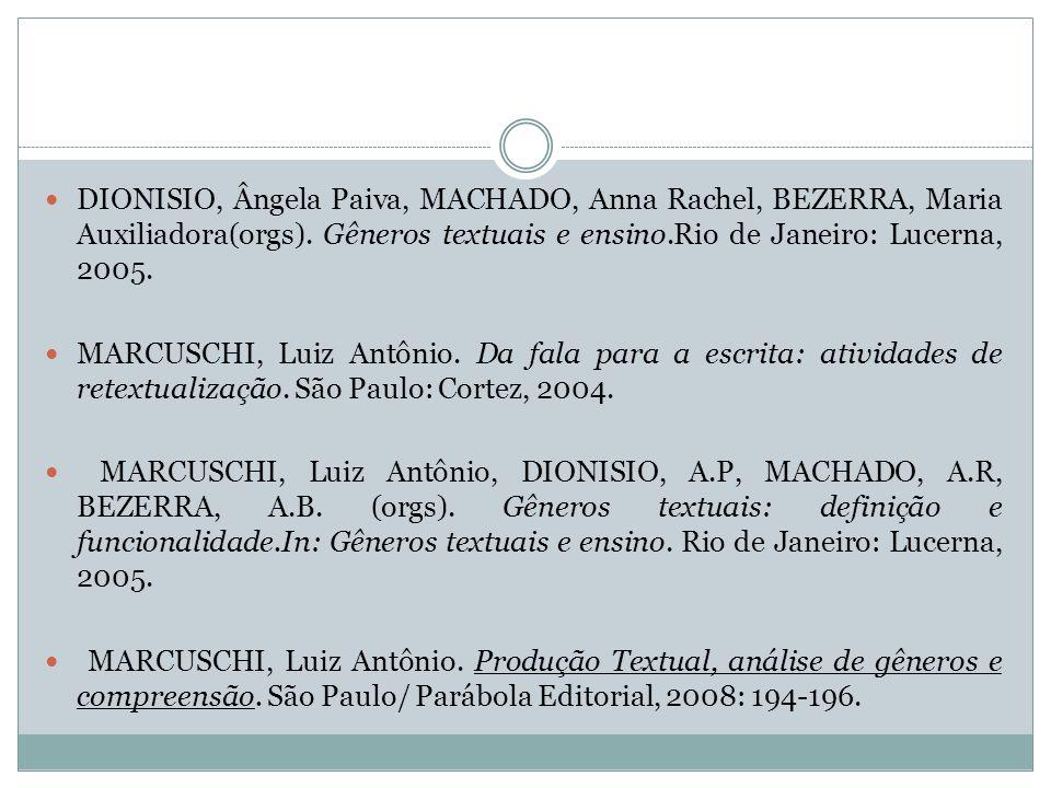 DIONISIO, Ângela Paiva, MACHADO, Anna Rachel, BEZERRA, Maria Auxiliadora(orgs). Gêneros textuais e ensino.Rio de Janeiro: Lucerna, 2005. MARCUSCHI, Lu