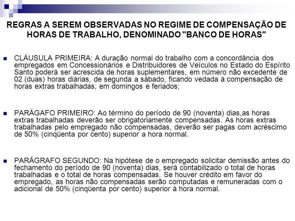 REGRAS A SEREM OBSERVADAS NO REGIME DE COMPENSAÇÃO DE HORAS DE TRABALHO, DENOMINADO