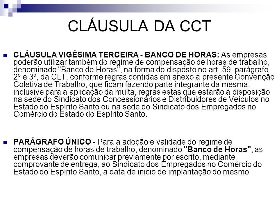 CLÁUSULA DA CCT CLÁUSULA VIGÉSIMA TERCEIRA - BANCO DE HORAS: As empresas poderão utilizar também do regime de compensação de horas de trabalho, denomi
