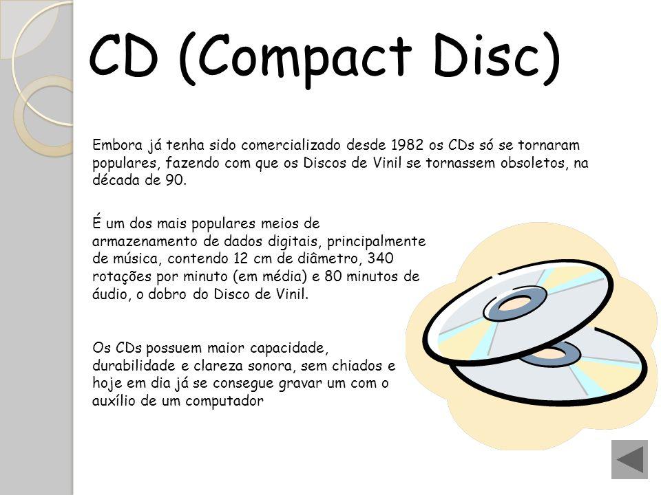 CD (Compact Disc) Embora já tenha sido comercializado desde 1982 os CDs só se tornaram populares, fazendo com que os Discos de Vinil se tornassem obso