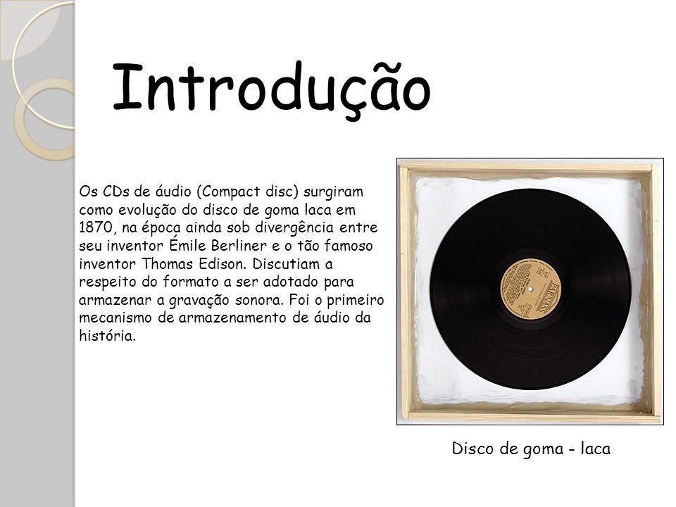 Introdução Os CDs de áudio (Compact disc) surgiram como evolução do disco de goma laca em 1870, na época ainda sob divergência entre seu inventor Émil