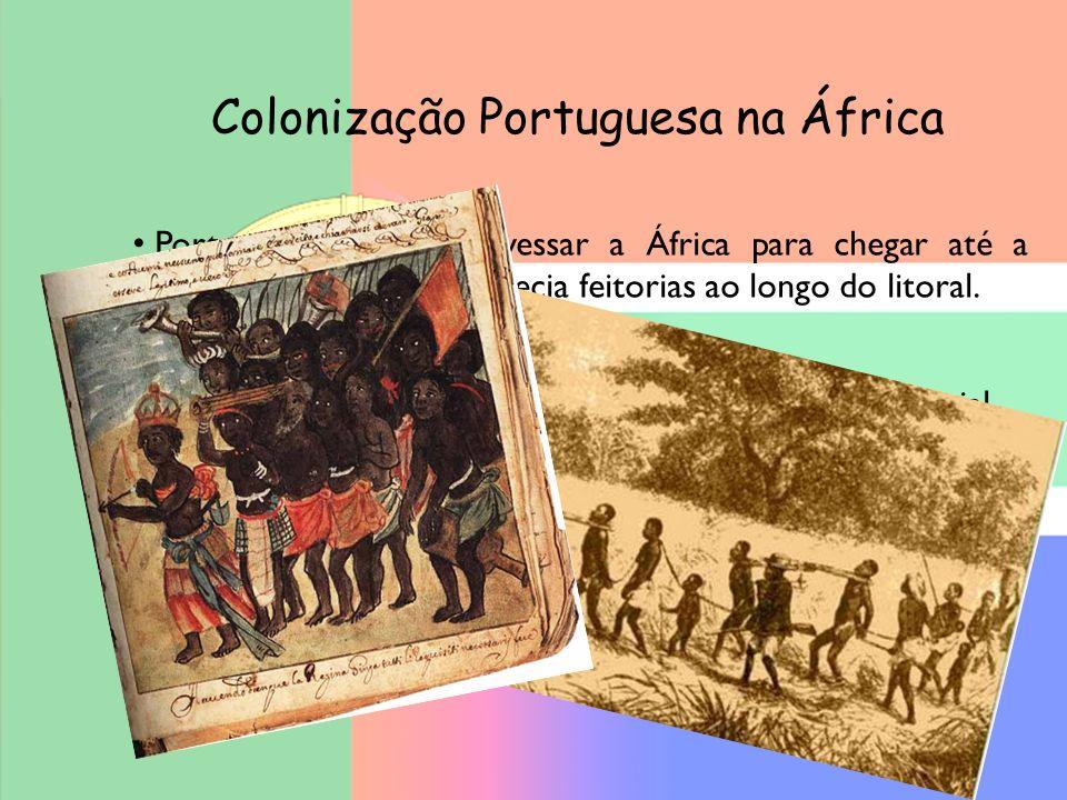 Colonização Portuguesa na África Portugal precisava atravessar a África para chegar até a Índia.Pelo caminho, estabelecia feitorias ao longo do litora