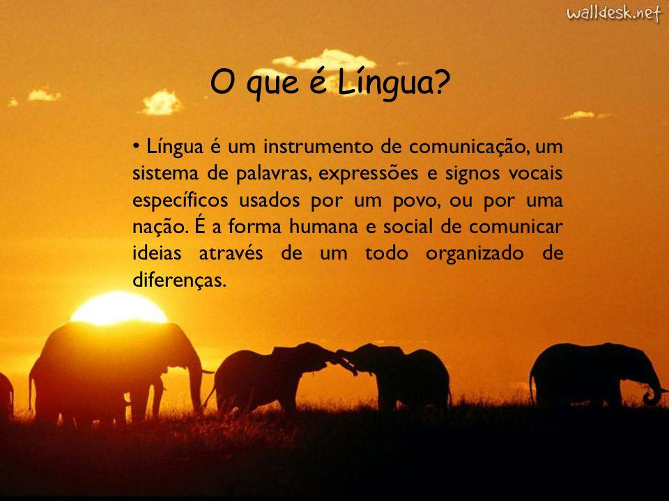 O que é Língua? Língua é um instrumento de comunicação, um sistema de palavras, expressões e signos vocais específicos usados por um povo, ou por uma