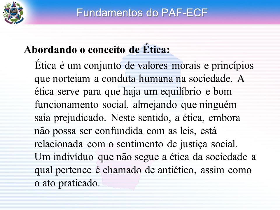 Fundamentos do PAF-ECF Abordando o conceito de Ética: Ética é um conjunto de valores morais e princípios que norteiam a conduta humana na sociedade. A