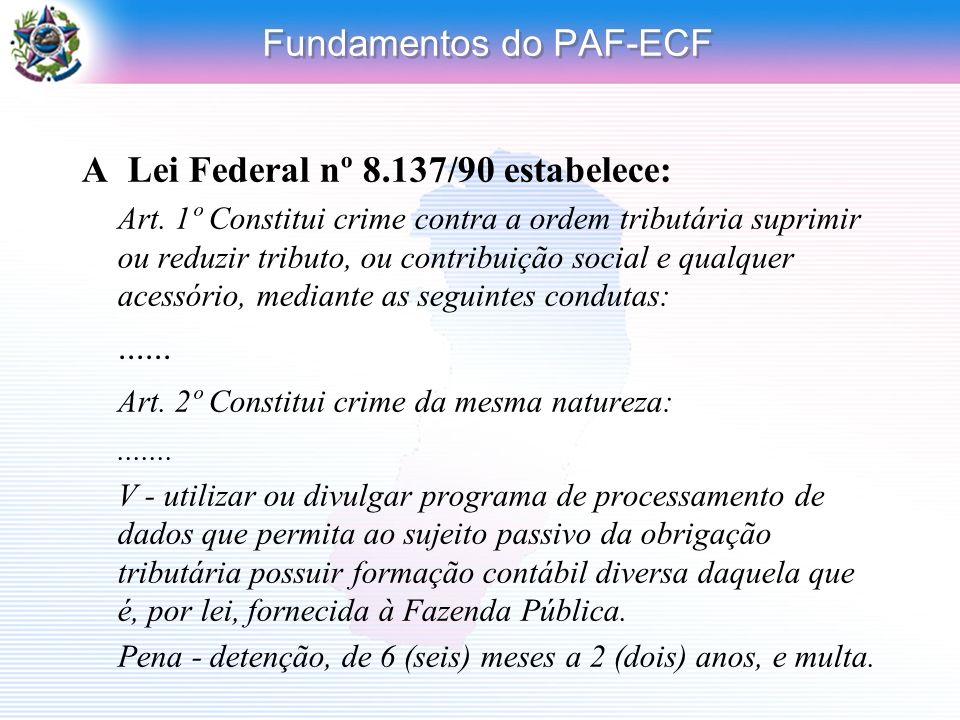 Fundamentos do PAF-ECF A Lei Federal nº 8.137/90 estabelece: Art. 1º Constitui crime contra a ordem tributária suprimir ou reduzir tributo, ou contrib