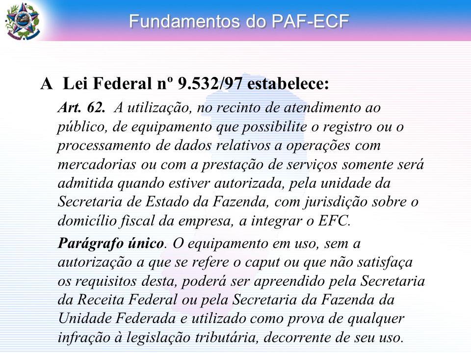 Fundamentos do PAF-ECF A Lei Federal nº 9.532/97 estabelece: Art. 62. A utilização, no recinto de atendimento ao público, de equipamento que possibili