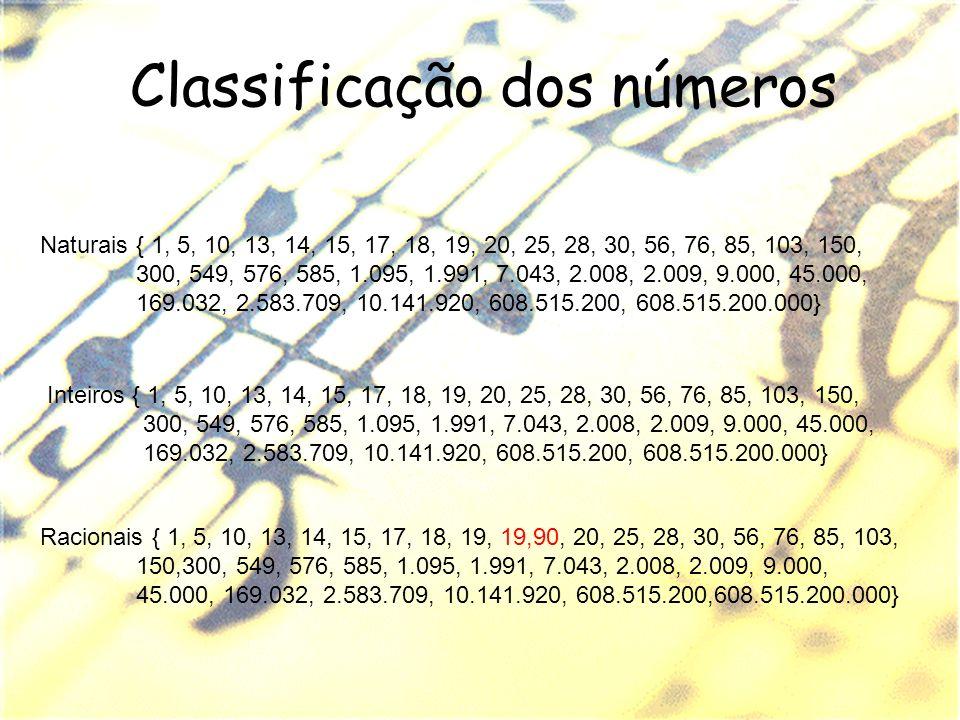Classificação dos números Naturais { 1, 5, 10, 13, 14, 15, 17, 18, 19, 20, 25, 28, 30, 56, 76, 85, 103, 150, 300, 549, 576, 585, 1.095, 1.991, 7.043,