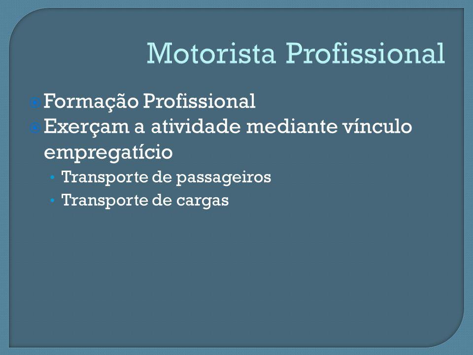 Formação Profissional Exerçam a atividade mediante vínculo empregatício Transporte de passageiros Transporte de cargas