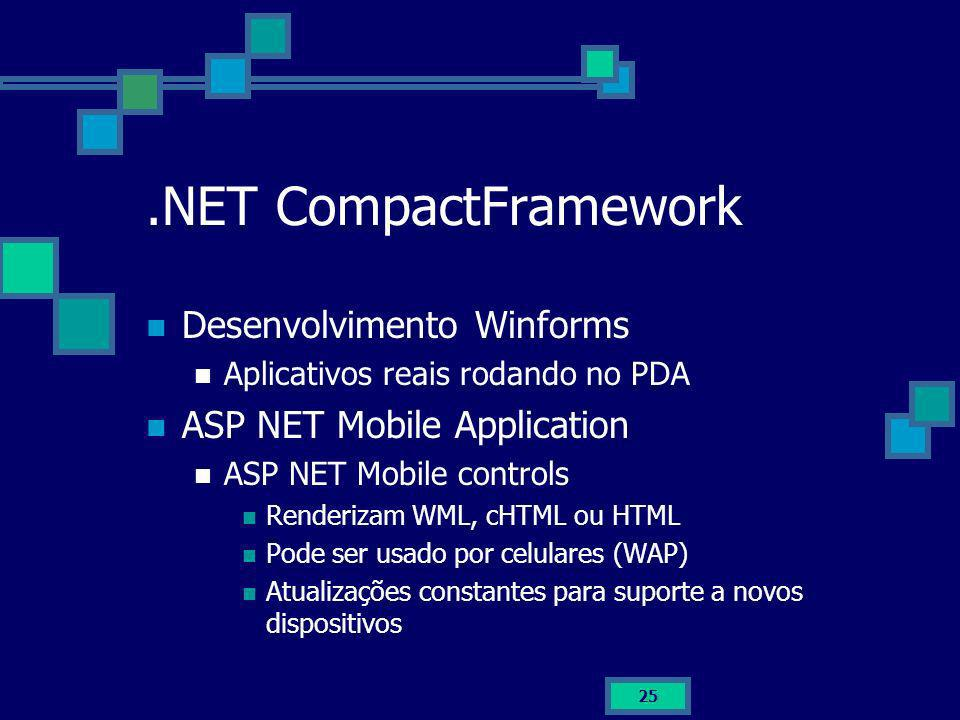 25.NET CompactFramework Desenvolvimento Winforms Aplicativos reais rodando no PDA ASP NET Mobile Application ASP NET Mobile controls Renderizam WML, c