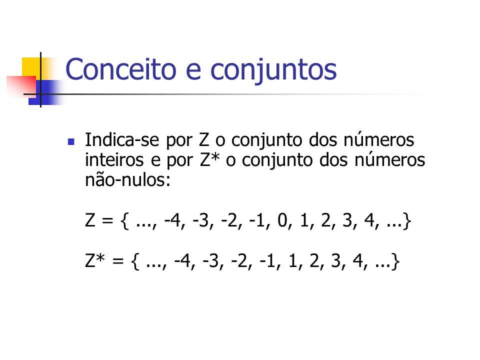 Conceito e conjuntos Indica-se por Z o conjunto dos números inteiros e por Z* o conjunto dos números não-nulos: Z = {..., -4, -3, -2, -1, 0, 1, 2, 3,