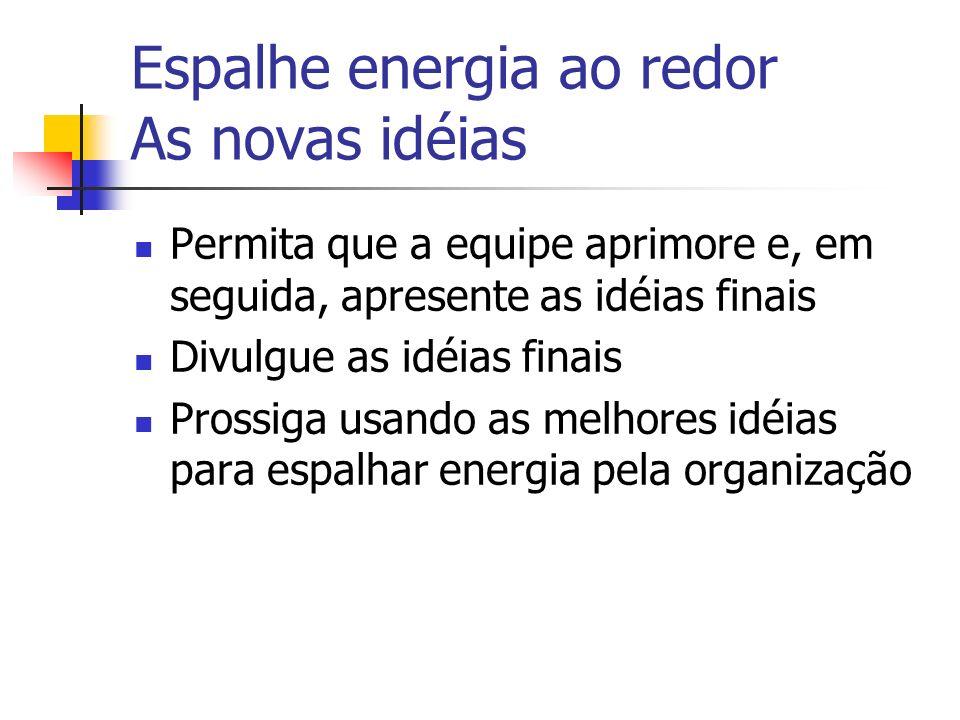 Espalhe energia ao redor As novas idéias Permita que a equipe aprimore e, em seguida, apresente as idéias finais Divulgue as idéias finais Prossiga us