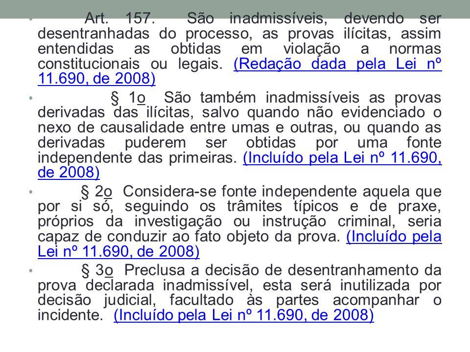 Art. 157. São inadmissíveis, devendo ser desentranhadas do processo, as provas ilícitas, assim entendidas as obtidas em violação a normas constitucion