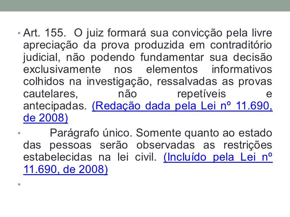 Art. 155. O juiz formará sua convicção pela livre apreciação da prova produzida em contraditório judicial, não podendo fundamentar sua decisão exclusi