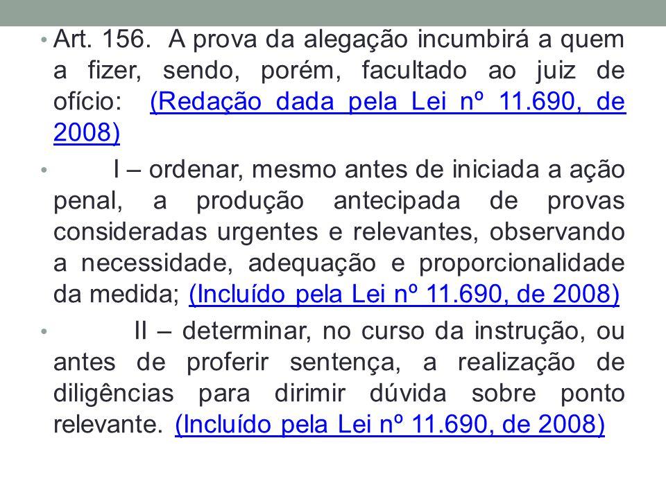 Art. 156. A prova da alegação incumbirá a quem a fizer, sendo, porém, facultado ao juiz de ofício: (Redação dada pela Lei nº 11.690, de 2008)(Redação
