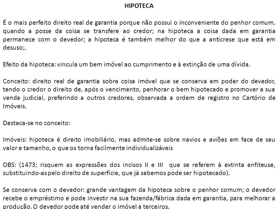 HIPOTECA É o mais perfeito direito real de garantia porque não possui o inconveniente do penhor comum, quando a posse da coisa se transfere ao credor;