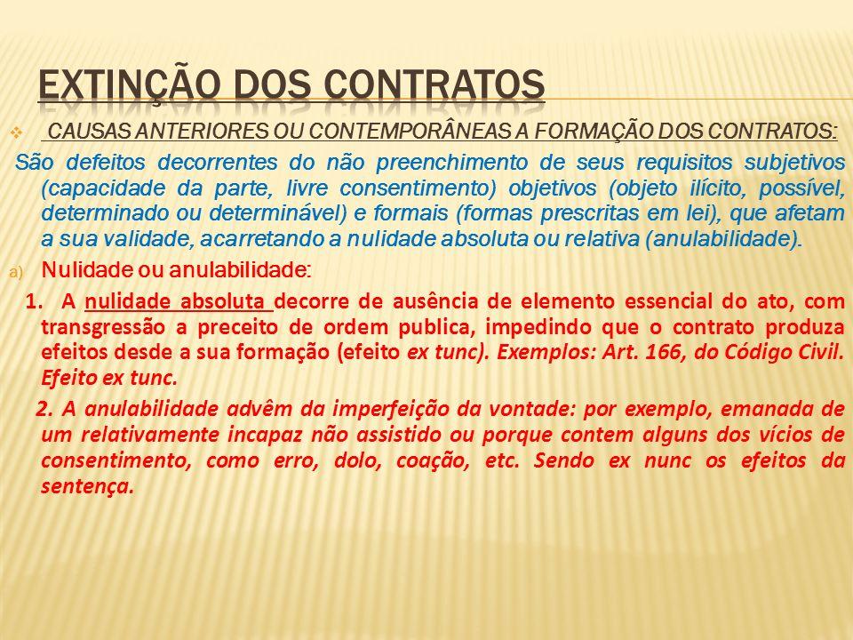 CAUSAS ANTERIORES OU CONTEMPORÂNEAS A FORMAÇÃO DOS CONTRATOS: São defeitos decorrentes do não preenchimento de seus requisitos subjetivos (capacidade