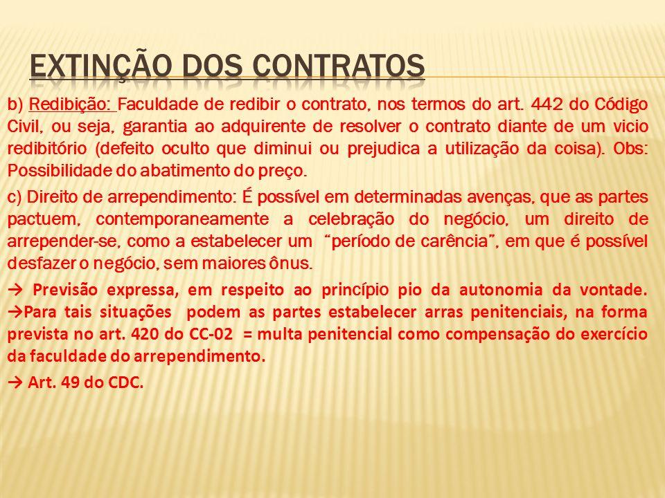 b) Redibição: Faculdade de redibir o contrato, nos termos do art. 442 do Código Civil, ou seja, garantia ao adquirente de resolver o contrato diante d