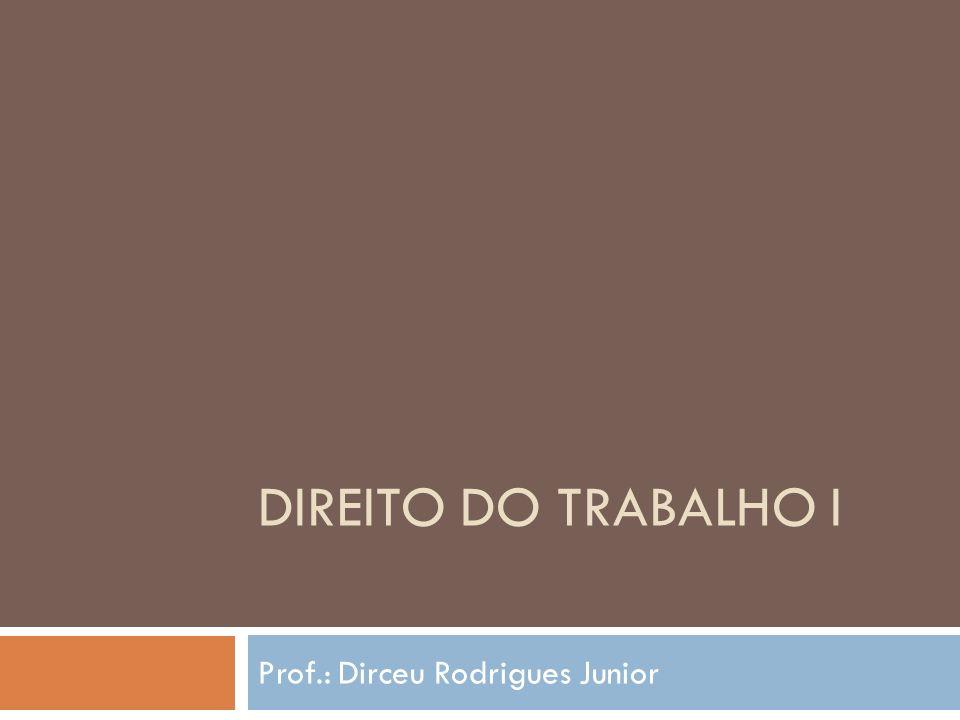 DIREITO DO TRABALHO I Prof.: Dirceu Rodrigues Junior