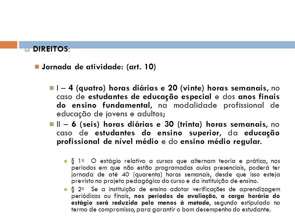 DIREITOS: Jornada de atividade: (art. 10) I – 4 (quatro) horas diárias e 20 (vinte) horas semanais, no caso de estudantes de educação especial e dos a