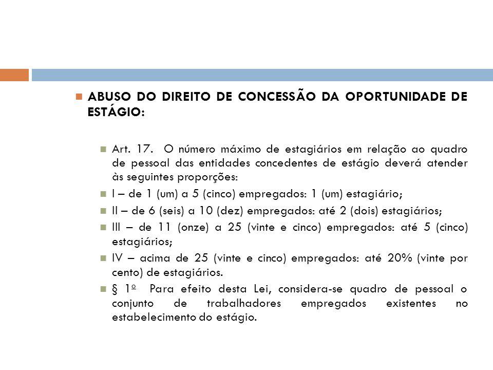 ABUSO DO DIREITO DE CONCESSÃO DA OPORTUNIDADE DE ESTÁGIO: Art. 17. O número máximo de estagiários em relação ao quadro de pessoal das entidades conced