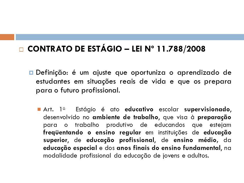 CONTRATO DE ESTÁGIO – LEI Nº 11.788/2008 Definição: é um ajuste que oportuniza o aprendizado de estudantes em situações reais de vida e que os prepara