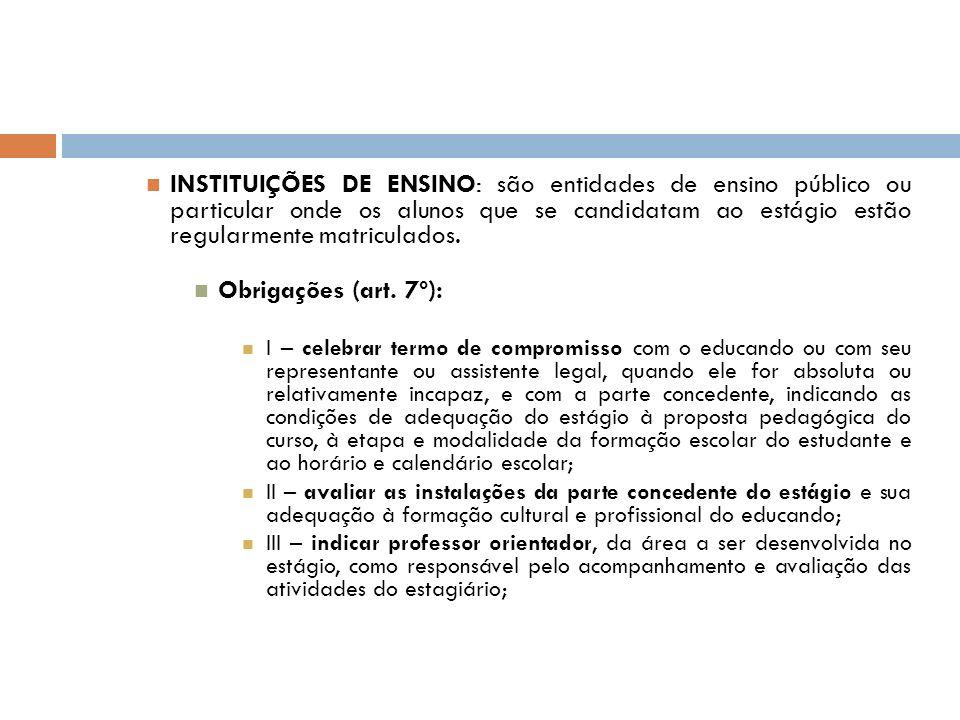 INSTITUIÇÕES DE ENSINO: são entidades de ensino público ou particular onde os alunos que se candidatam ao estágio estão regularmente matriculados. Obr