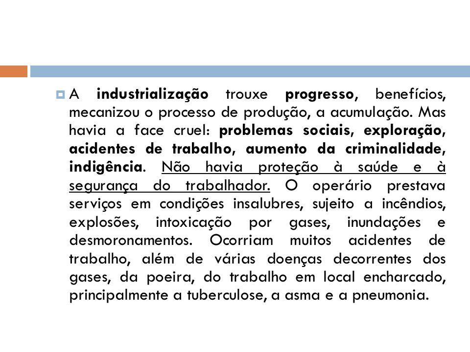 A industrialização trouxe progresso, benefícios, mecanizou o processo de produção, a acumulação. Mas havia a face cruel: problemas sociais, exploração