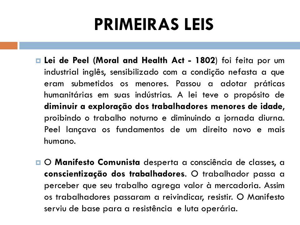 PRIMEIRAS LEIS Lei de Peel (Moral and Health Act - 1802) foi feita por um industrial inglês, sensibilizado com a condição nefasta a que eram submetido