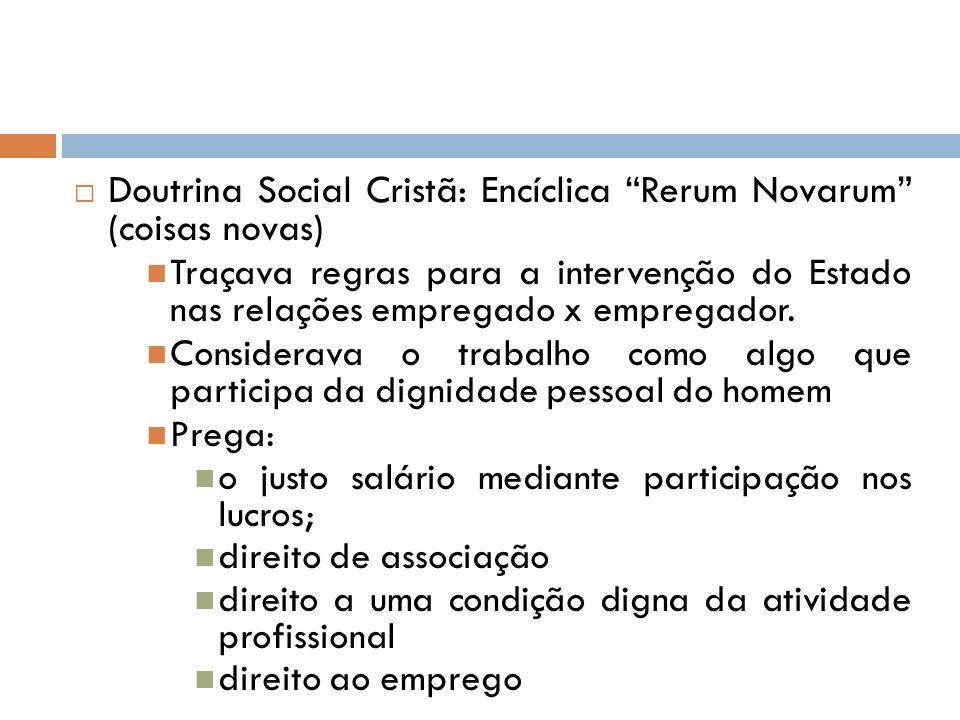 Doutrina Social Cristã: Encíclica Rerum Novarum (coisas novas) Traçava regras para a intervenção do Estado nas relações empregado x empregador. Consid