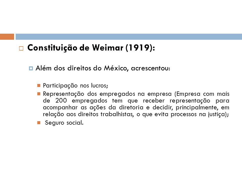 Constituição de Weimar (1919): Além dos direitos do México, acrescentou: Participação nos lucros; Representação dos empregados na empresa (Empresa com