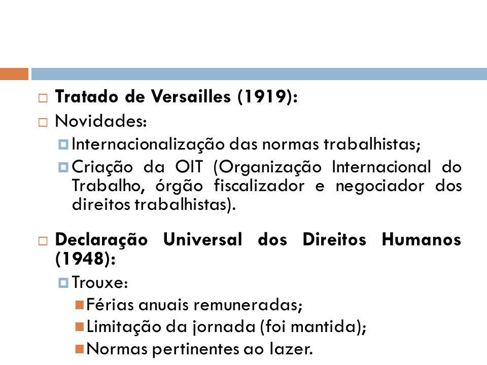 Tratado de Versailles (1919): Novidades: Internacionalização das normas trabalhistas; Criação da OIT (Organização Internacional do Trabalho, órgão fis