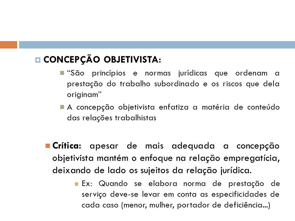 CONCEPÇÃO OBJETIVISTA: São princípios e normas jurídicas que ordenam a prestação do trabalho subordinado e os riscos que dela originam A concepção obj
