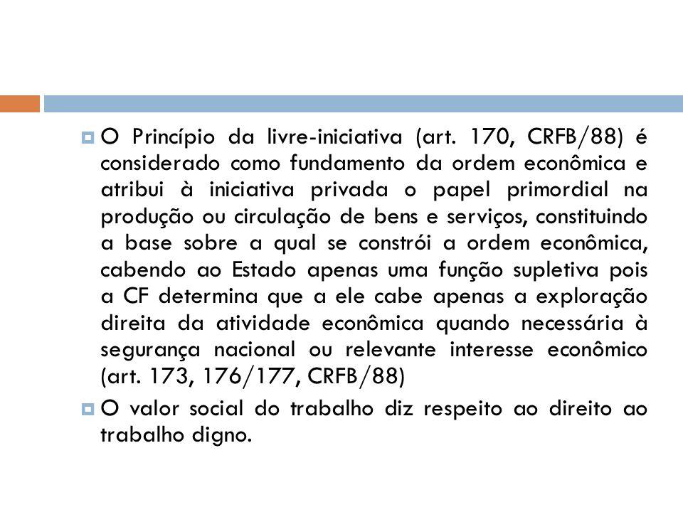 O Princípio da livre-iniciativa (art. 170, CRFB/88) é considerado como fundamento da ordem econômica e atribui à iniciativa privada o papel primordial