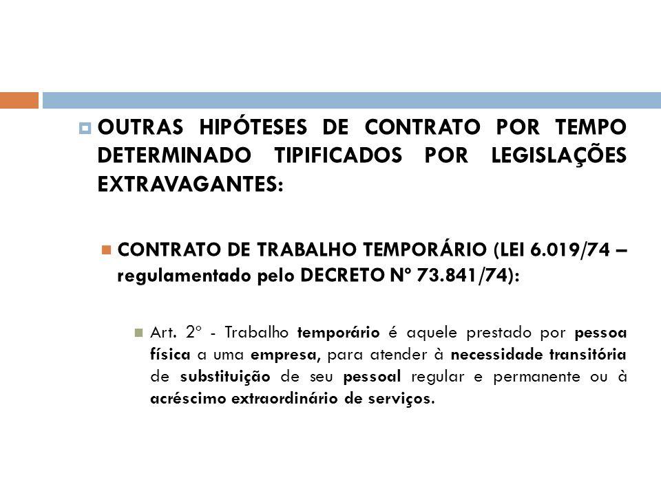 OUTRAS HIPÓTESES DE CONTRATO POR TEMPO DETERMINADO TIPIFICADOS POR LEGISLAÇÕES EXTRAVAGANTES: CONTRATO DE TRABALHO TEMPORÁRIO (LEI 6.019/74 – regulame