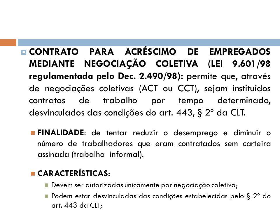 CONTRATO PARA ACRÉSCIMO DE EMPREGADOS MEDIANTE NEGOCIAÇÃO COLETIVA (LEI 9.601/98 regulamentada pelo Dec. 2.490/98): permite que, através de negociaçõe
