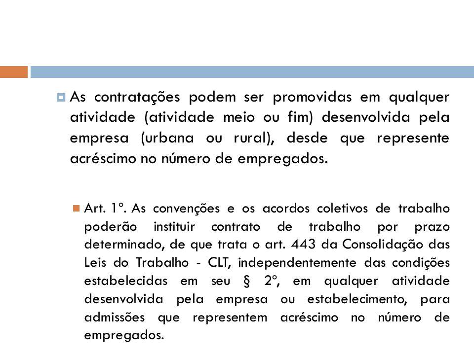 As contratações podem ser promovidas em qualquer atividade (atividade meio ou fim) desenvolvida pela empresa (urbana ou rural), desde que represente a