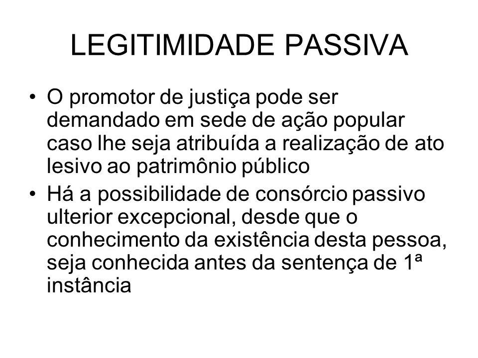LEGITIMIDADE PASSIVA O promotor de justiça pode ser demandado em sede de ação popular caso lhe seja atribuída a realização de ato lesivo ao patrimônio