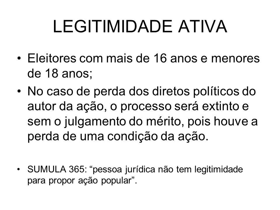 LEGITIMIDADE ATIVA Eleitores com mais de 16 anos e menores de 18 anos; No caso de perda dos diretos políticos do autor da ação, o processo será extint