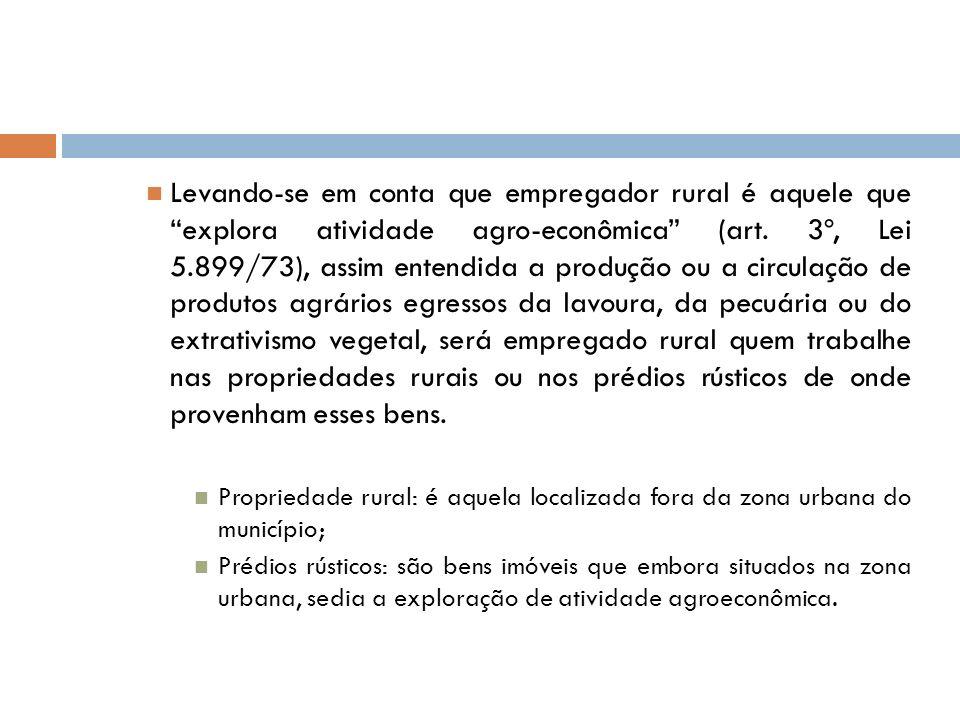 Levando-se em conta que empregador rural é aquele que explora atividade agro-econômica (art. 3º, Lei 5.899/73), assim entendida a produção ou a circul