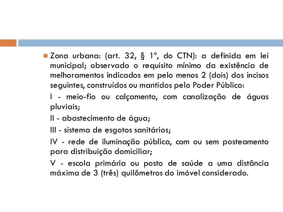 Zona urbana: (art. 32, § 1º, do CTN): a definida em lei municipal; observado o requisito mínimo da existência de melhoramentos indicados em pelo menos