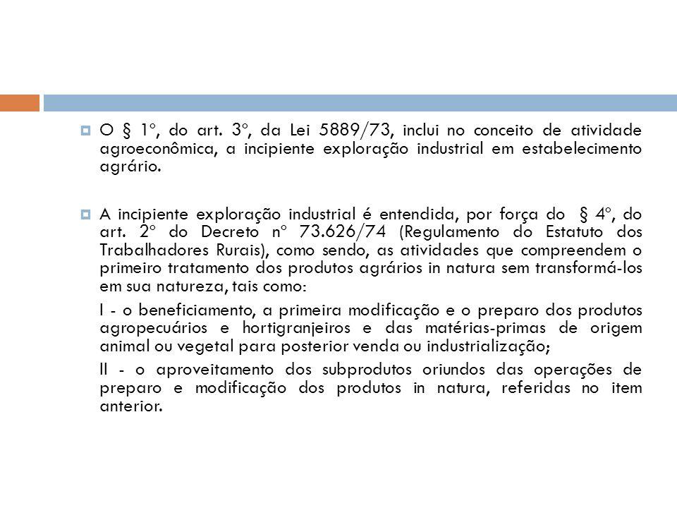 O § 1º, do art. 3º, da Lei 5889/73, inclui no conceito de atividade agroeconômica, a incipiente exploração industrial em estabelecimento agrário. A in