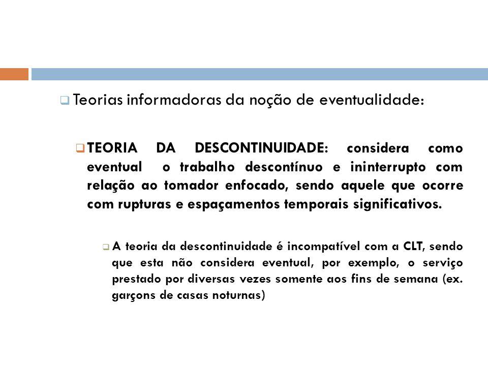 Teorias informadoras da noção de eventualidade: TEORIA DA DESCONTINUIDADE: considera como eventual o trabalho descontínuo e ininterrupto com relação a